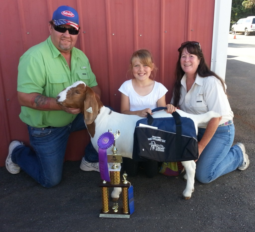 Amelia and Chevy Grand Champion Market Goat